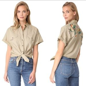 Madewell Embroidered tie front safari shirt top XL